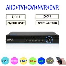 5MP Surveillance cameras Hi3531A XMeye 8CH 8 Channel 6 in 1 Hybrid Coaxial Wifi XVI CCTV TVI CVI NVR AHD DVR Free Shipping