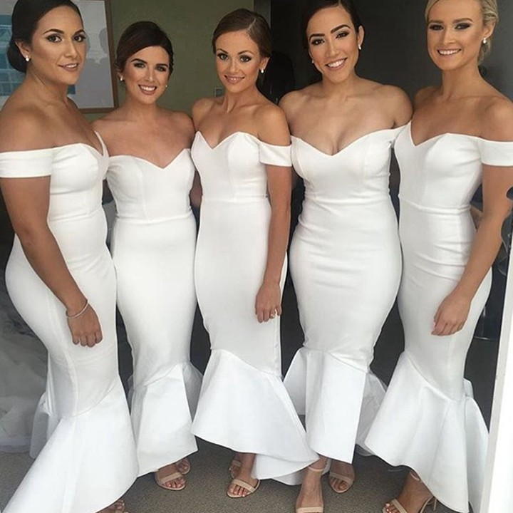 M411 Formal White Mermaid   Bridesmaid     Dress   Long 2018 Boat Neck Off The Shoulder Satin robe demoiselle d'honneur For Wedding