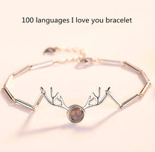 Hot 100 Languages I Love You Memory Bracelet S925 Silver Elk Charm Bangles Bracelets for Women Valentine's Day Gift Dropshipping(China)