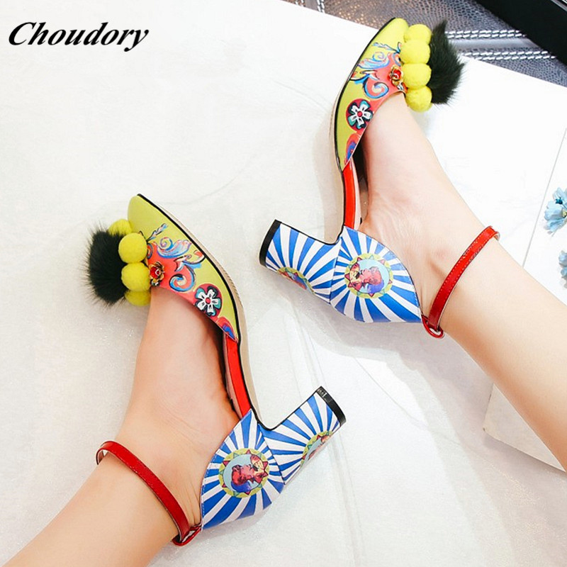 Choudory Bohemia Color Style Chunky Heel Shoes Woman Female Buckle Strap Prom Wedding Shoes Fashion Hairball Studded Woman Pumps lttl bohemia print floral chunky heel sandalias female blue red prom wedding shoes woman ankle strap sequins rhinestone sandals