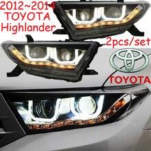 Samochód stylizacji, highlander reflektor, 2012 ~ 2014, Uwalnia statek! 2 sztuk, highlander światła przeciwmgielne samochód-obejmuje, chrom, highlander head light
