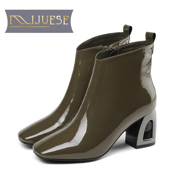 MLJUESE 2019 women ankle boots soft cow leather zippers green color high heels boots winter short plush boots size 41 party marulong s0002 women s fashionable flower pattern short sleeved nightdress green multi color