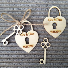Personalized Custom 50pcs Wooden Wood Engraved Name Date Wedding Lock Key Tags Rustic Bridal Shower Favors Decorations