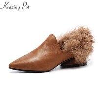 2018 Krazing Pot Shoes Women Novelty Sheep Fur Med Heels Genuine Leather Pumps Slip On Sweet