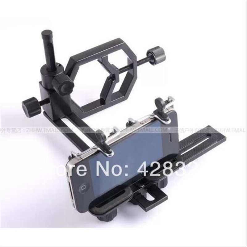Dual phone clip full metal with two universal bracket connecting the camera to a telescope and a variety of cell phone camera 24 49mm full metal universal phone mount adapter binoculars spotting scope astronomical telescope connecting with cell phone