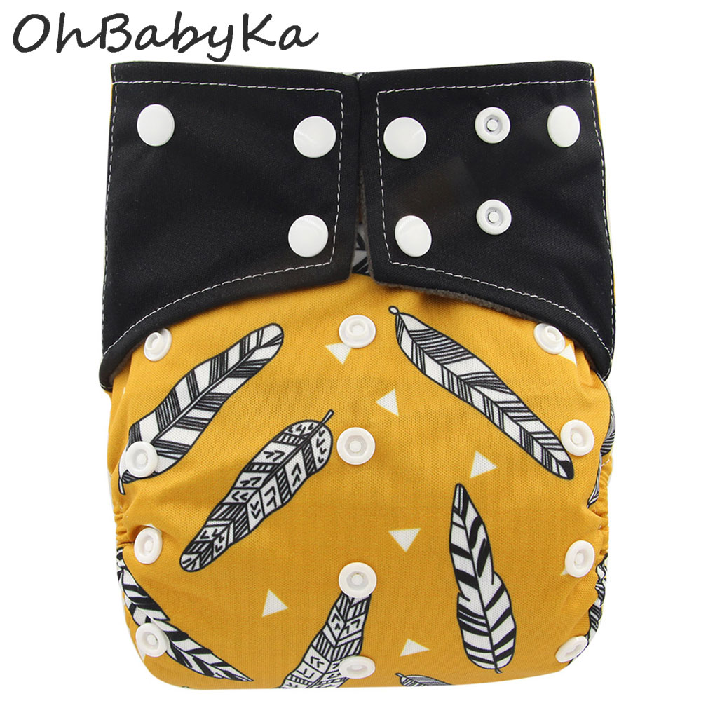Ohbabyka Baby Charcoal Bamboo All-in-one AIO Cloth Diaper Sewn Insert Reusable Couche Lavable Pocket Diaper Flushable Bamboo