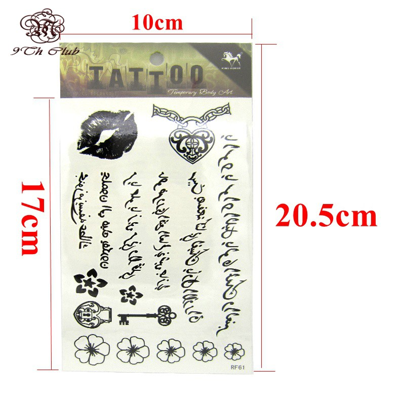 50pcs/lot Black Arabic Tattoos Women Arm Designs,Beautiful Flower Butterfly Waterproof Fake Temporary Tattoo Stickers Wholesale 15