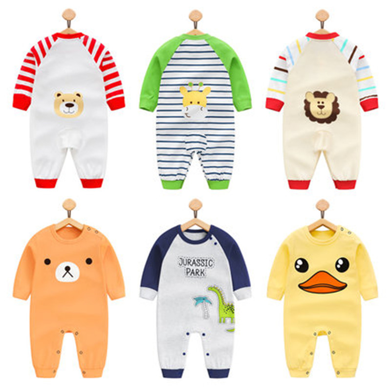 Denim Season 2017 Autumn Baby Clothing Pajamas Infant toddler Dinosaur Pattern Baby Rompers Boy Girl Cotton Long Sleeve Overalls spring autumn baby cotton knit rompers baby girl long sleeve knitted overalls infant girl floral embriodery bebes infant clothes