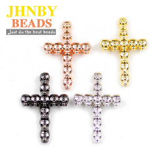JHNBY 2pcs Skull Cross Pendant Copper Spacer beads Pave CZ Metal Charms Loose beads Jewelry bracelet&Bangle making DIY Findings()