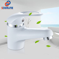 SOGNARE Mini Stylish Elegant Bathroom Faucet Single Handle Waterfall Faucet Brass Vessel Sink Water Tap White