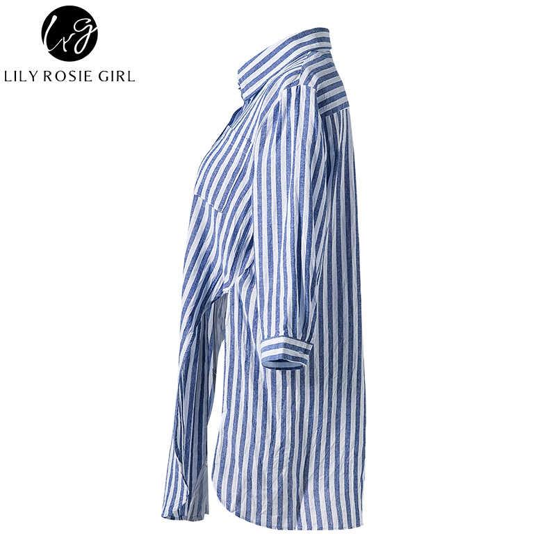 רוזי שושן כחול ילדה פסי נשים מזדמנים חולצה 3/4 שרוול צמרות קשת צלב קדמי כיס זוגי חולצות סתיו חורף גבירותיי Blusa