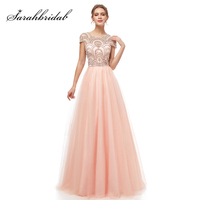2019 Formal Wear Ball Gown Evening Long Dresses Elegant Women's Tulle Cap Sleeve Beading Prom Party Gowns Special Occasion L5222