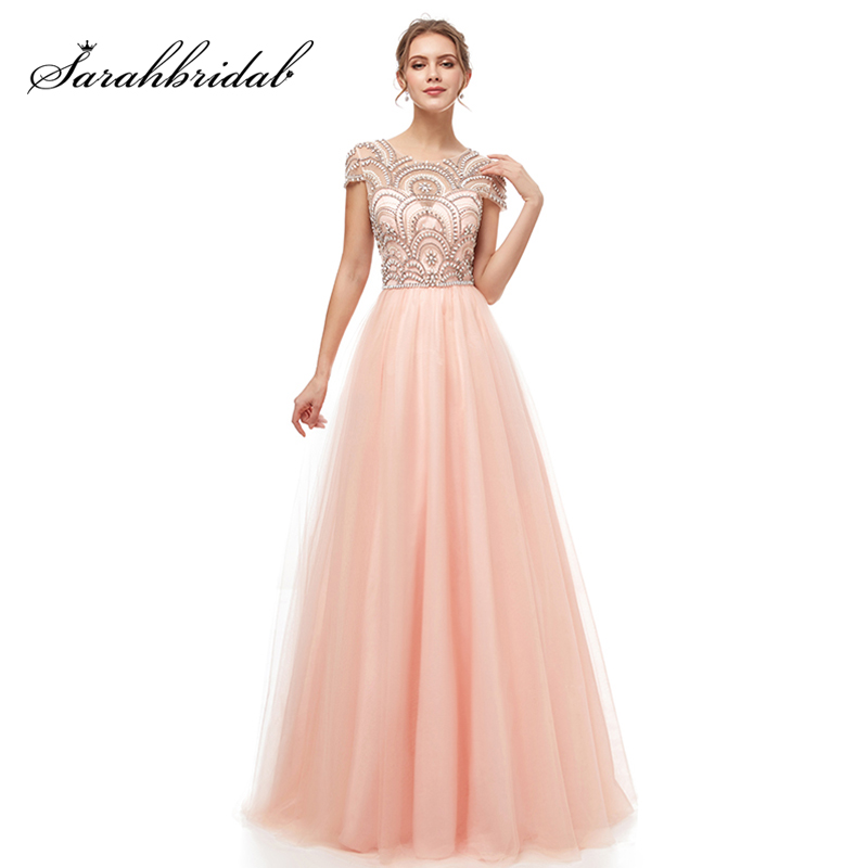 Formal Women Ball Gown   Evening     Dresses   2019 Elegant Blush Tulle Cap Sleeve Beading Prom Maxi Party Gowns Cheap in Stock L5222