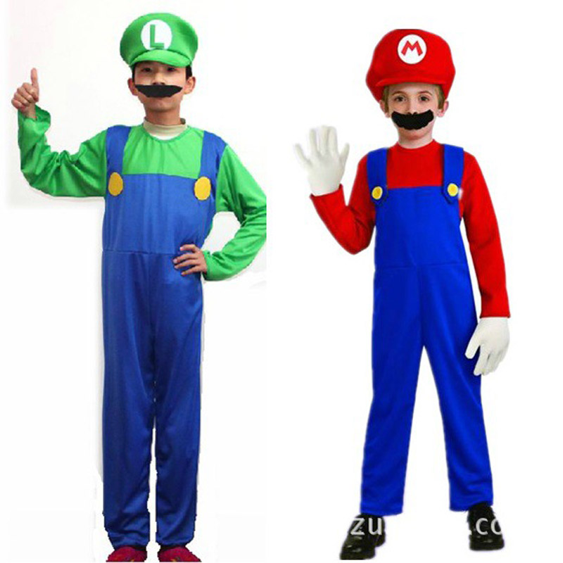 Boys Girls Super Mario Costume Halloween Costumes For Kids Luigi Costume Brothers Plumber Jumpsuit Costume Red Green