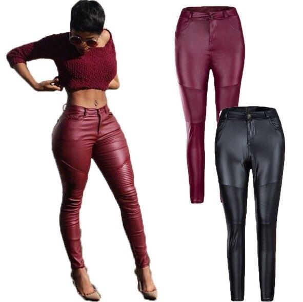 cdf1f02b3fcc8 Rock Style Women Skinny Faux Leather Pants Female Tight Pu Leather Trouser  Teen Girls Moto Biker Pleated Pants Push Up Black Red
