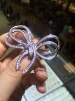 2016 new women's bow brooch big silver 925 woolen coat accessories