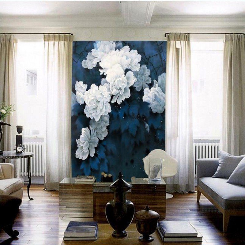 wallpaper for walls 3 d Modern Chinese ink flowers Custom murals Living room Study decorative background wallpaper wallpaper for walls 3 d modern trdimensional geometry 4d tv background wall paper roll silver gray wallpapers for living room