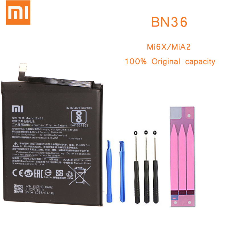 Original Phone <font><b>Battery</b></font> for Mi6X MiA2 <font><b>Battery</b></font> Xiaomi <font><b>Mi</b></font> <font><b>6X</b></font> A2 BN36 <font><b>Batteries</b></font> with Retail Package Bateria for Xiaomi Mi6X MiA2 image