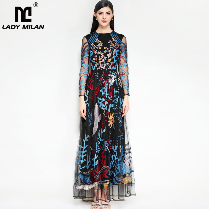 Lady Milan 2018 Womens O Neck Long Sleeves Embroidery Sexy Tulle Laid Over Party Prom Elegant Desinger Floor Length Dresses