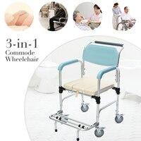3 в 1 комод коляске Старший складной стул тумбочка туалет и душ сиденье Ванная комната подвижного кресла Алюминий сплав водонепроницаемый