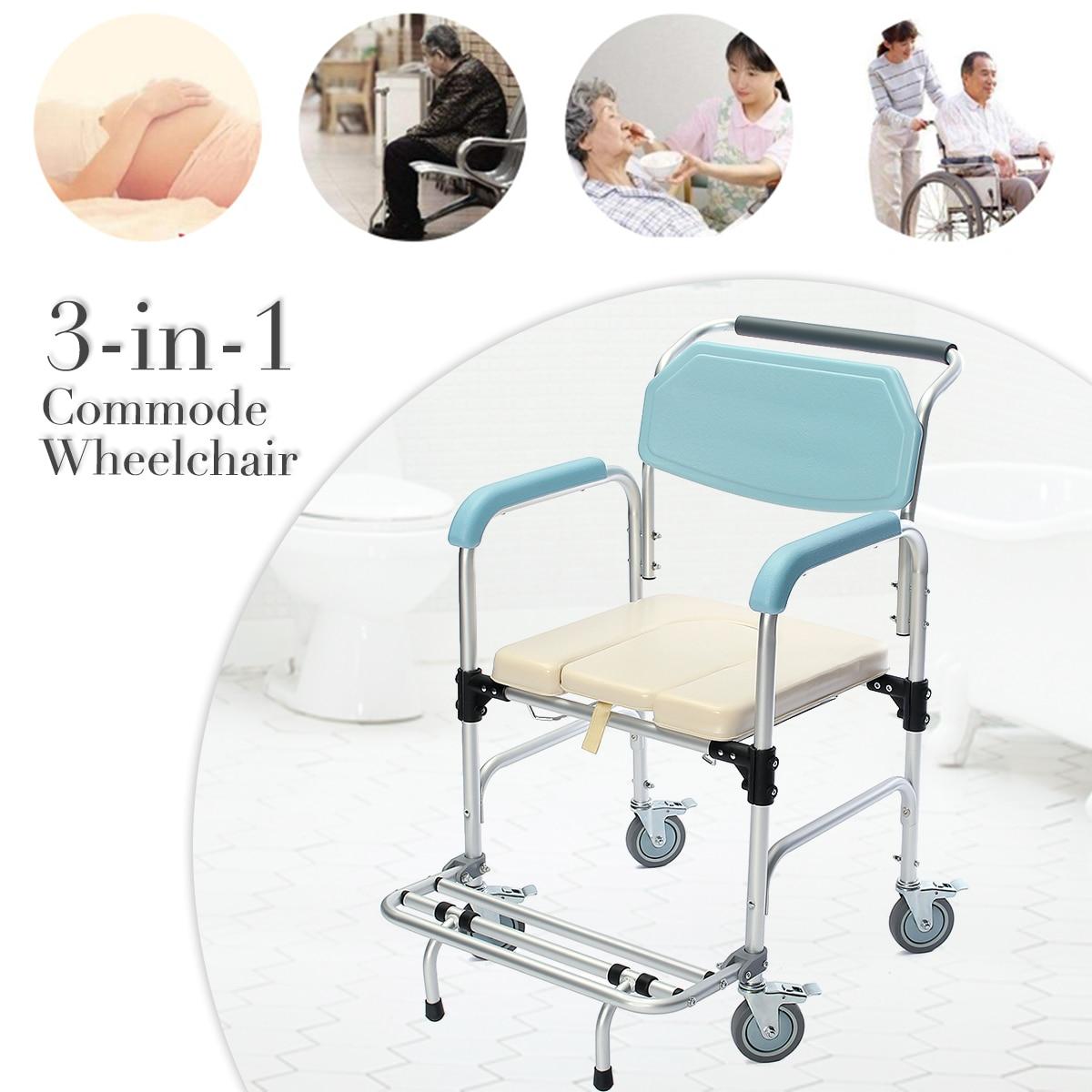 все цены на 3-in-1 Commode Wheelchair Elder Folding Chair Bedside Toilet & Shower Seat Bathroom Rolling Chair Aluminum Alloy Waterproof