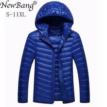 NewBang Brand 8XL 9XL 10XL Mens Down jacket Ultra Light Down Jacket Men Lightweight Feather Hooded Warm Portable Winter Coat