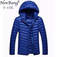 NewBang Brand 8XL 9XL 10XL Men's Down jacket Ultra Light Down Jacket Men Lightweight Feather Hooded Warm Portable Winter Coat