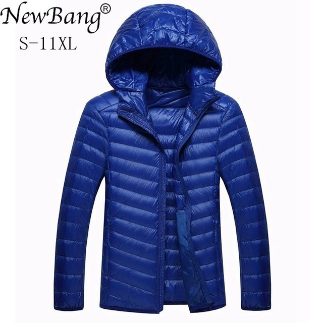 NewBang Marke 8XL 9XL 10XL männer Unten jacke Ultra Licht Unten Jacke Männer Leichte Feder Mit Kapuze Warme Tragbare Winter mantel