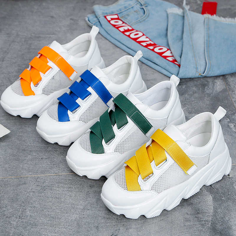 Wedge White Sneakers Women Shoes Ladies tenis Chunky Sneakers Platform 2019 New Mesh Summer Casual Shoes basket chaussures femme