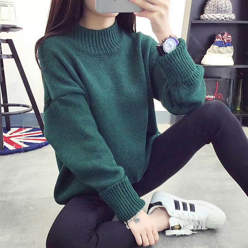 Solid Long Sleeve Turtleneck Sweaters Women Warm Winter Women Sweaters Pull Femme Loose Knitted Female Clothes Pullover Jumper