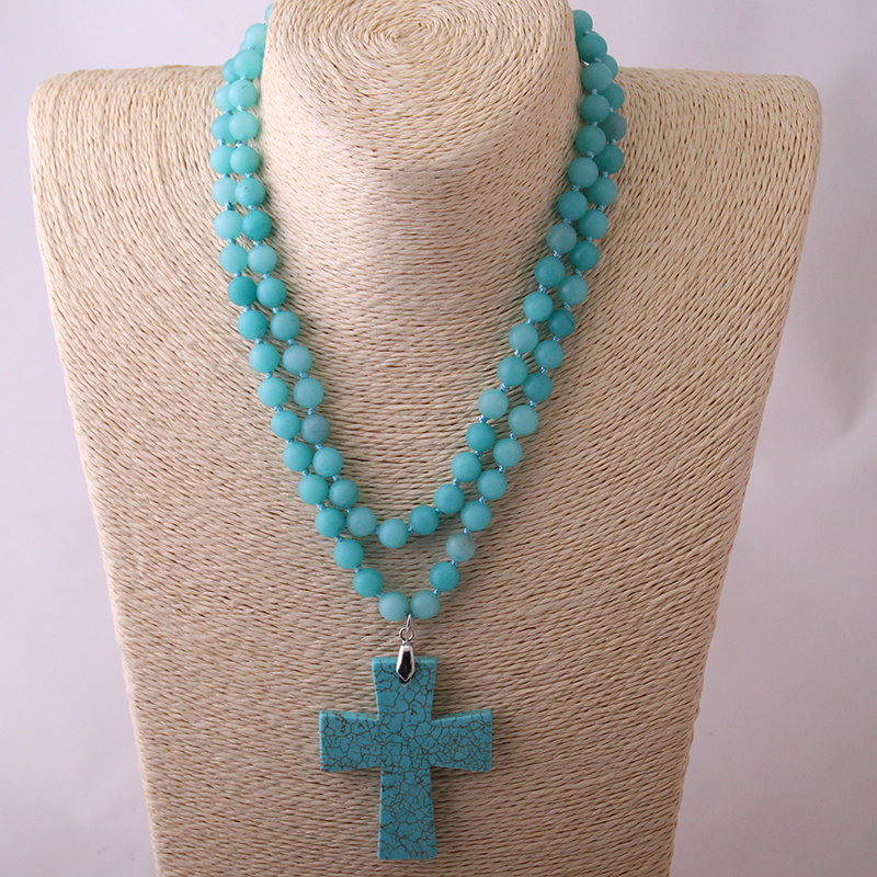 Free Shipping Fashion B;ue Semi Precious Stones Beads Statement Necklaces long Knotted Beads Neck Cross Necklace