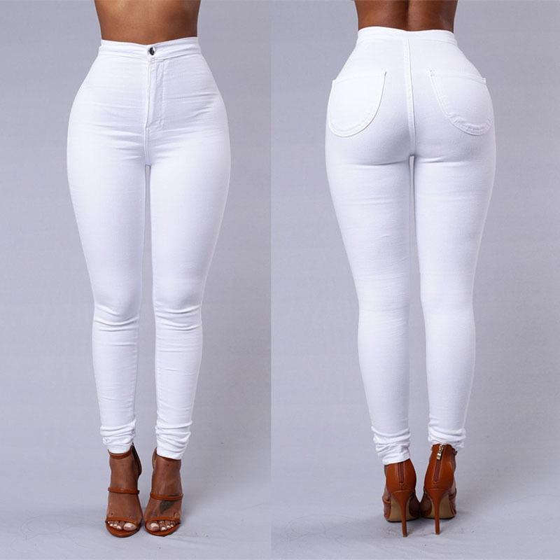 NORMOV Fitness Women Leggings White High Waist Elastic Push Up With Pockets Button Cotton Leggin Skinny Leggings Plus Size