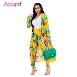 Adogirl принтом перьев Для женщин комплект из двух предметов длинный рукав удлиненный кардиган платье карандаш брюки Модный повседневный