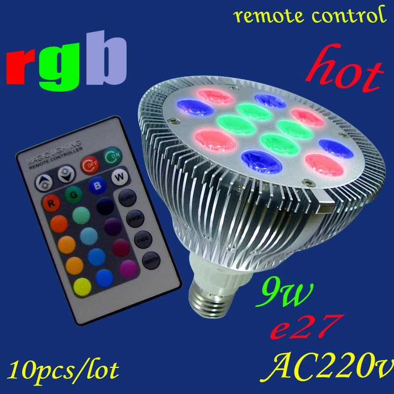 Free Shipping 10pcs/lot Rgb Led Bulb E27 AC220V 9w 122*120mm Led Rgb Par  Light With Remote Control Colors Changing BEST Selling In LED Spotlights  From ...