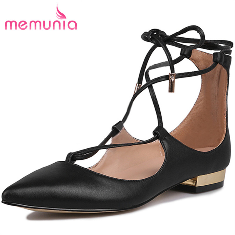 MEMUNIA women pointed toe genuine leather pumps fashion sexy cross-tied summer shoes elegant high heels shoes sweet comfortable memunia flock pointed toe ladies summer high heels shoes fashion buckle color mixing women pumps elegant lady prom shoes