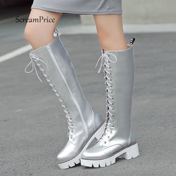 Women Platform Thick High Knee High Boots Fashion Lace Up Winter Fighting Boots White Red Black Silver