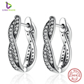 2017 New Authentic 925 Sterling Silver Twist Of Fate Earrings, Clear CZ Earrings for Women Compatible With Pan Jewelry PAS465