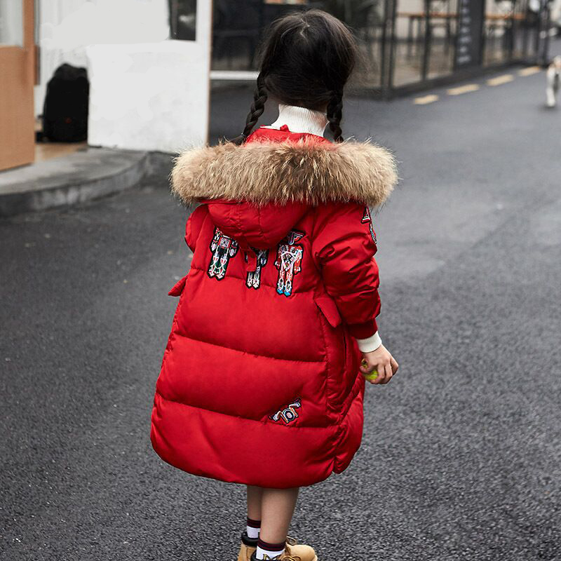 New Robots Embroidered Thick Children White Down Jacket For Boys Girls Winter Coat Fur Collar Kids Parkas Snow Wear -30 Degree 2017 new baby girls boys winter coats jacket children down outerwear warm thick outdoor kids fur collar snow proof coat parkas