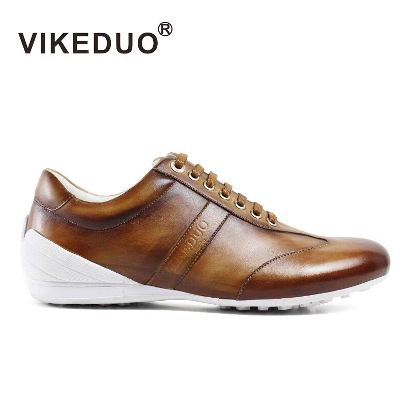 VIKEDUO Brand Vintage Retro Handmade Mens Shoes Luxury Fashion Casual Sport Man's Shoe 100% Genuine Leather Fashion Male Footwe
