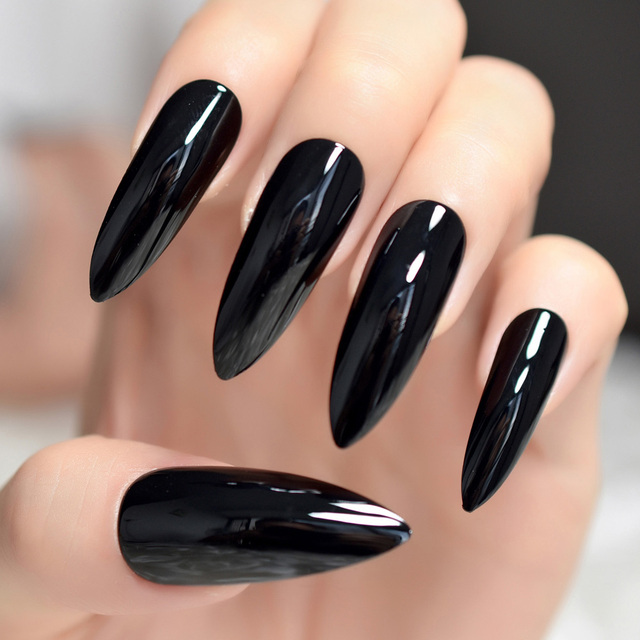 Black Extremely Long Stiletto Nails 24 Full Set of Nails UV Gel ...