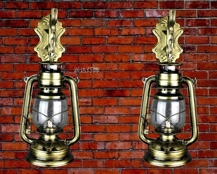American style Iron wall lamp kerosene lantern bedroom living room nostalgic cafes restaurant balcony hallway wall lights ZA retro european pastoral style lantern kerosene wall lamps e27 lights sconce for restaurant bar bathroom bedside bedroom hallway