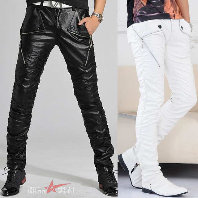 Aliexpress.com : Buy Fashion white and black male long leather ...
