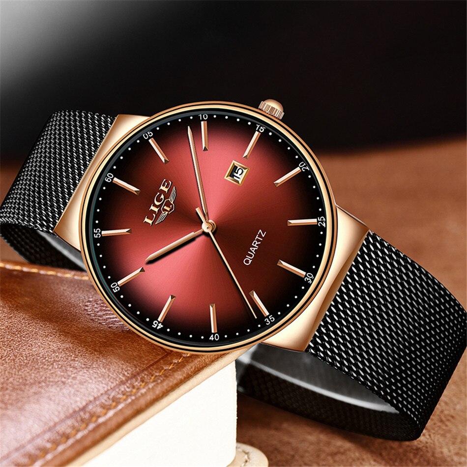 HTB150slQSzqK1RjSZFjq6zlCFXaf LIGE New Mens Watches Top Brand Luxury Fashion Mesh Belt Watch Men Waterproof Wrist Watch Analog Quartz Clock erkek kol saati
