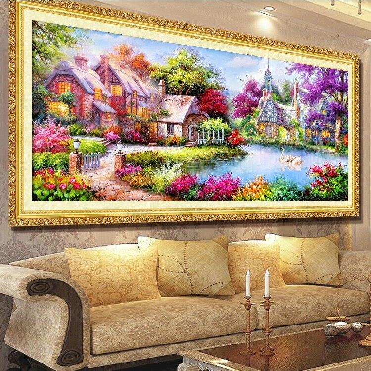 2017 DIY 5D diamond paintings, mosaic landscapes, Garden Cottages, cross stitch suites, diamond embroidery, home decor