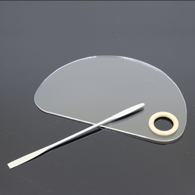 Half Circle Makeup Nail Art Palette Stainless Steel Rod Spatula Tools Clear Acrylic