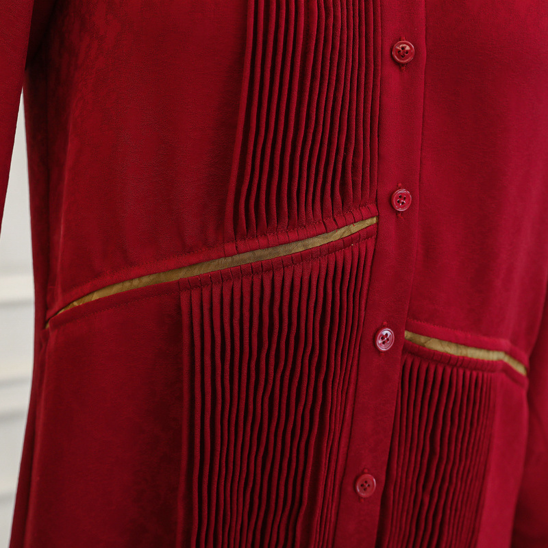 Robe Befree En Bureau Dames Vin Automne Rouge Longues Chemisier Manches À Chemises B873 Voa Soie De Hauts Décontracté Lâche Luxe Femmes Vêtements Rétro vw04q1ntnx
