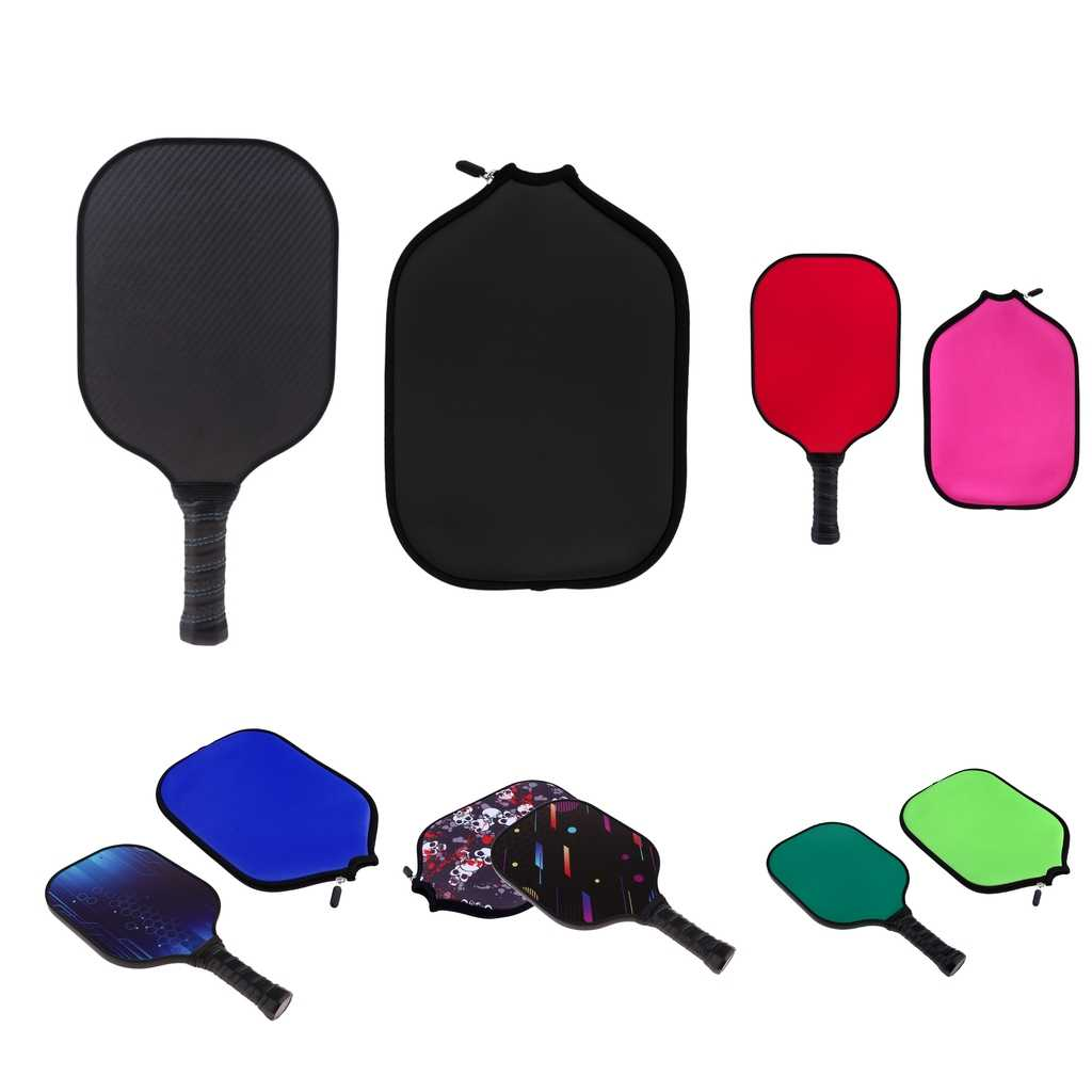 Durable Carbon Fiber Honeycomb Composite Core Pickleball Paddle / Racket & Zipper Neoprene Case Cover Protector Sleeve - 5 Color