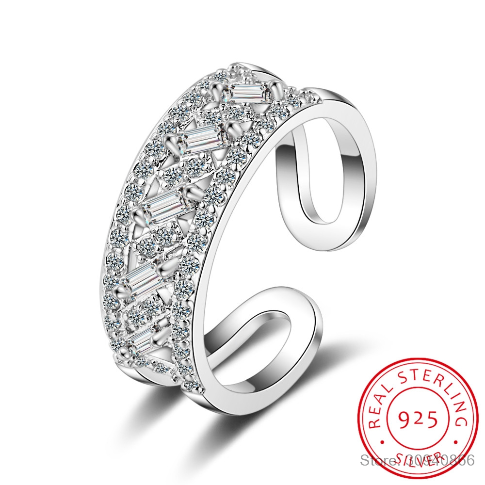 925 Sterling Silver Luxury Zirconia Crystal Double Layer Rings For Women Fine Jewelry Fashion Open Adjustable Finger Ring