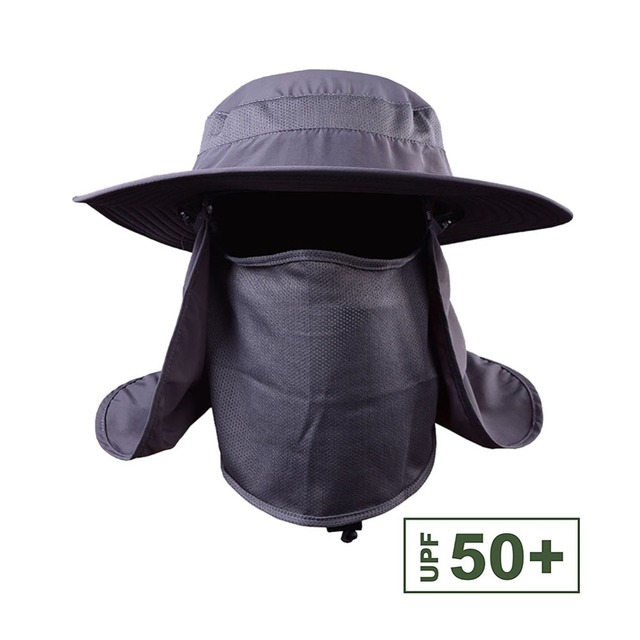 360 degree Assembled Neck Cover Boonie Fish Camping Hunting Snap Hat Brim  Cap Ear Sun Flap 30ab97641870
