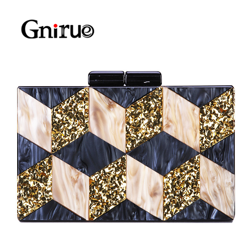 New Female Black Pearlescent Acrylic Evening Bags Vintage Women Messenger Bags Gold Sequins Clutches Patchwork Party Handbags(China)